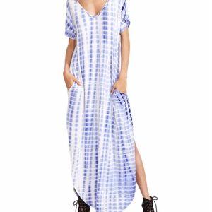 Tie-Dye V Neck Split Side Long Dress Maxi Blue